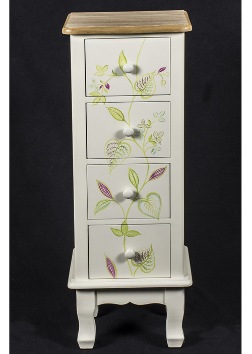 PGO058_1_Country Floral Grey Chest of Drawers