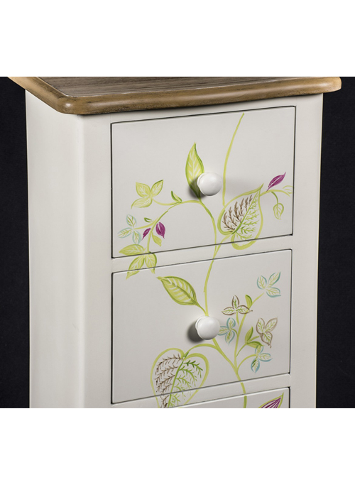 PGO058_4_Country Floral Grey Chest of Drawers