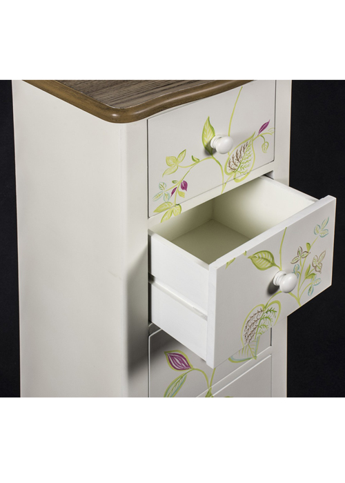 PGO058_5_Country Floral Grey Chest of Drawers