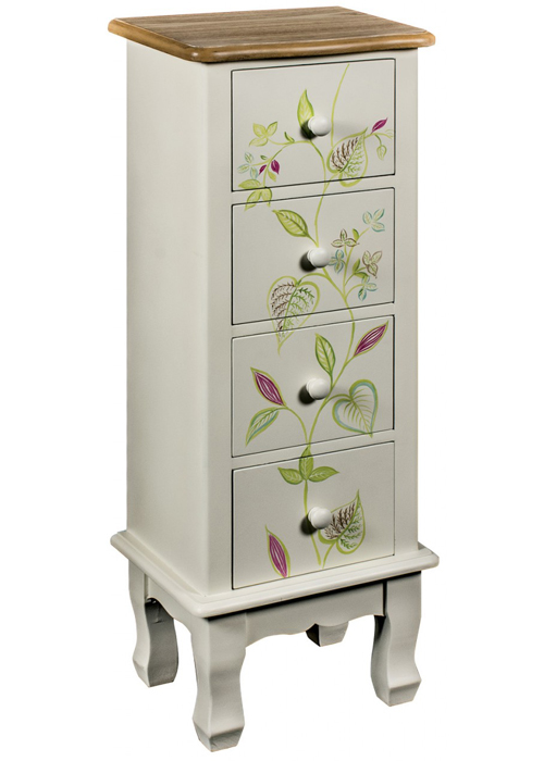 PGO058__Country Floral Grey Chest of Drawers