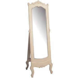 pfj012-angled_French Antique Style Cream Cheval Mirror