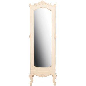pfj012_French Antique Style Cream Cheval Mirror