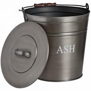 17539-a Antique Pewter Grey Ash Bucket