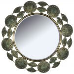 Antiqued Gold Circle Fan Wall Mirror