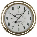 Antiqued Gold Grand Central Wall Clock