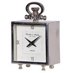 KNG144 Square Pocket Watch Style Silver Clock