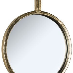 Set of 4 Antiqued Gold Round Mirrors