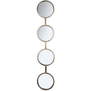 Set of 4 Antiqued Gold Round Mirrors a