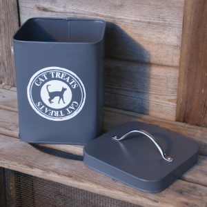 Slate Grey Cat Food Storage Tin b