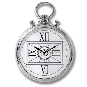 18240 Large Pocket Watch Style Silver Clock