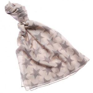 48237-Pale Grey Cream Ivory Star Fashion Scarf