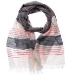 48343-Stripe Pink White Cream Grey Fashion Scarf
