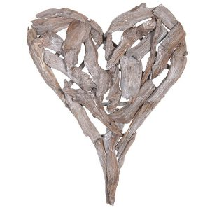 TRH021 Rustic Driftwood Brown Heart Wall Decoration