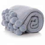Pale Blue Pom Pom Throw Blanket