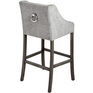 Silver Grey Upholstered Bar Stool a