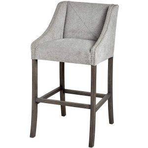 Silver Grey Upholstered Bar Stool c