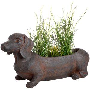 18671 Large Rustic Sausage Dog Brown Planter