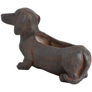 18671-b Large Rustic Sausage Dog Brown Planter