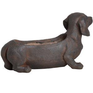 18671-c Large Rustic Sausage Dog Brown Planter