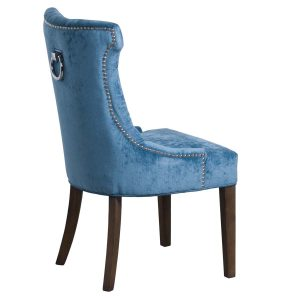 19076-a Teal Blue Cocktail Wing Dining Chair