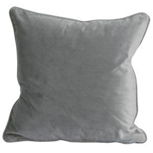 19341 Grey Velvet Square Cushion with Inner