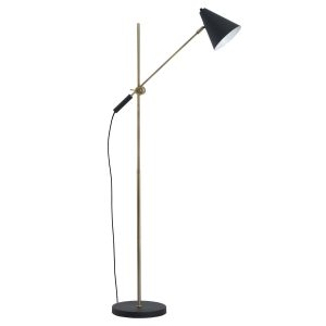 19690 Contemporary Style Black Brass Floor Lamp