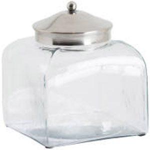 19803 Square Hammered Glass Storage Jar