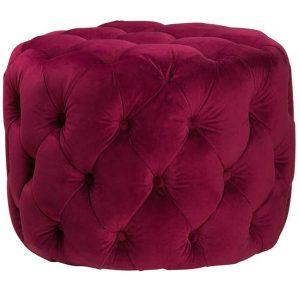 19863 Purple Velvet Upholstered Round Foot Stool