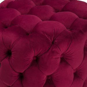 19863- a Purple Velvet Upholstered Round Foot Stool