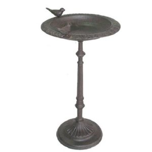 3663 a Antique Style Brown Bird Feeder Table