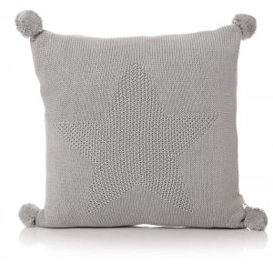 42503 Pom Pom Star Grey Knitted Cushion