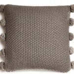 94180 Pom Pom Dark Grey Knitted Cushion
