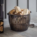 BAST01_Hand Crafted Grey Log Wood Basket
