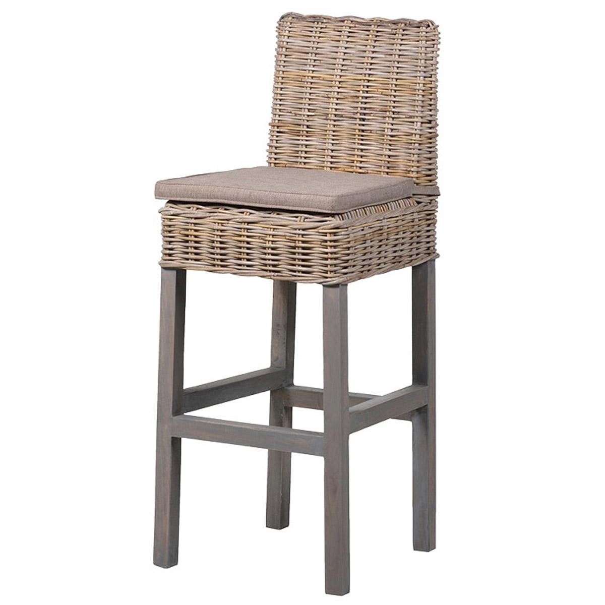 Pleasing New England Grey Wicker Bar Stool Machost Co Dining Chair Design Ideas Machostcouk