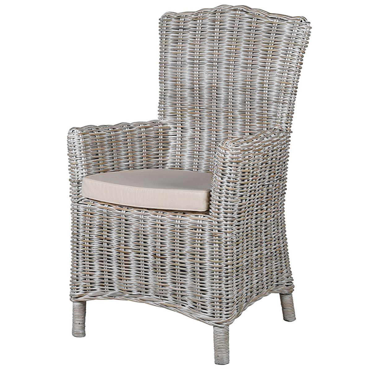 Admirable White Wash Grey Wicker Chair Ncnpc Chair Design For Home Ncnpcorg