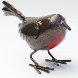 Standing Robin Metal Outdoor Ornament b
