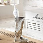 Wellington Boot Silver Umbrella Stand a