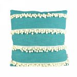00325-1 Striped Aqua Blue Pom Pom Cushion