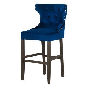 19351 Navy Blue Velvet Upholstered Bar Stool