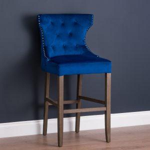 19351-b Navy Blue Velvet Upholstered Bar Stool