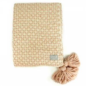 72738-1-Woven Lattice Cream Blush Pink Blanket