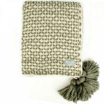 72740 Woven Lattice Cream Khaki Green Blanket
