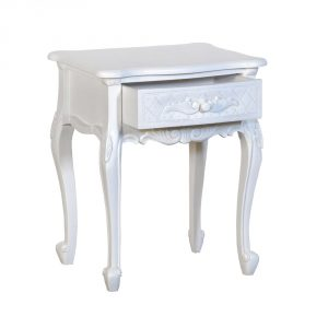 js2092-aw-open Antique Style Ornate White Bedside Table