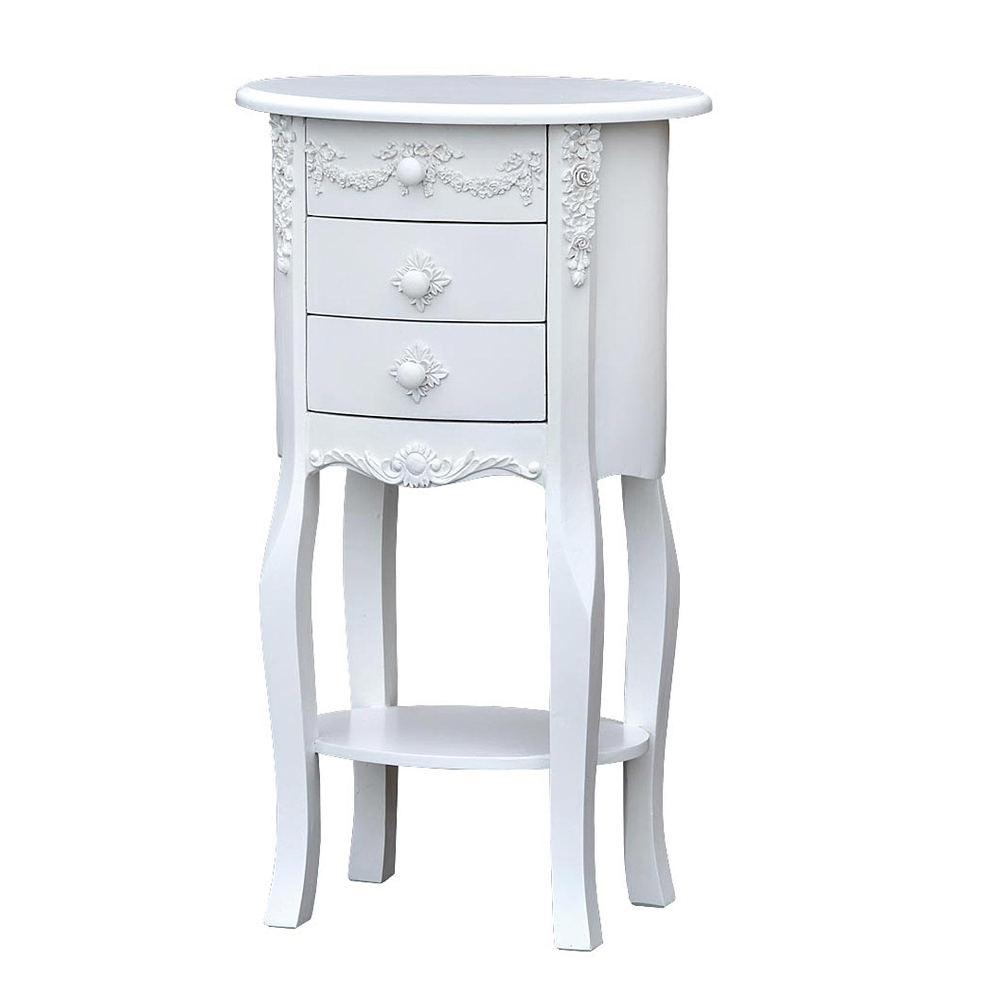 Ornate White Oval Bedside Table Cabinet