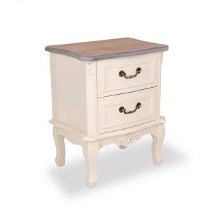 tfg114-aw-wd_01 Antique White 2 Drawer Bedside Table