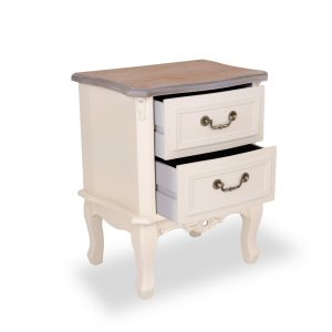 tfg114-aw-wd_02 Antique White 2 Drawer Bedside Table