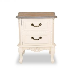 tfg114-aw-wd_2 Antique White 2 Drawer Bedside Table