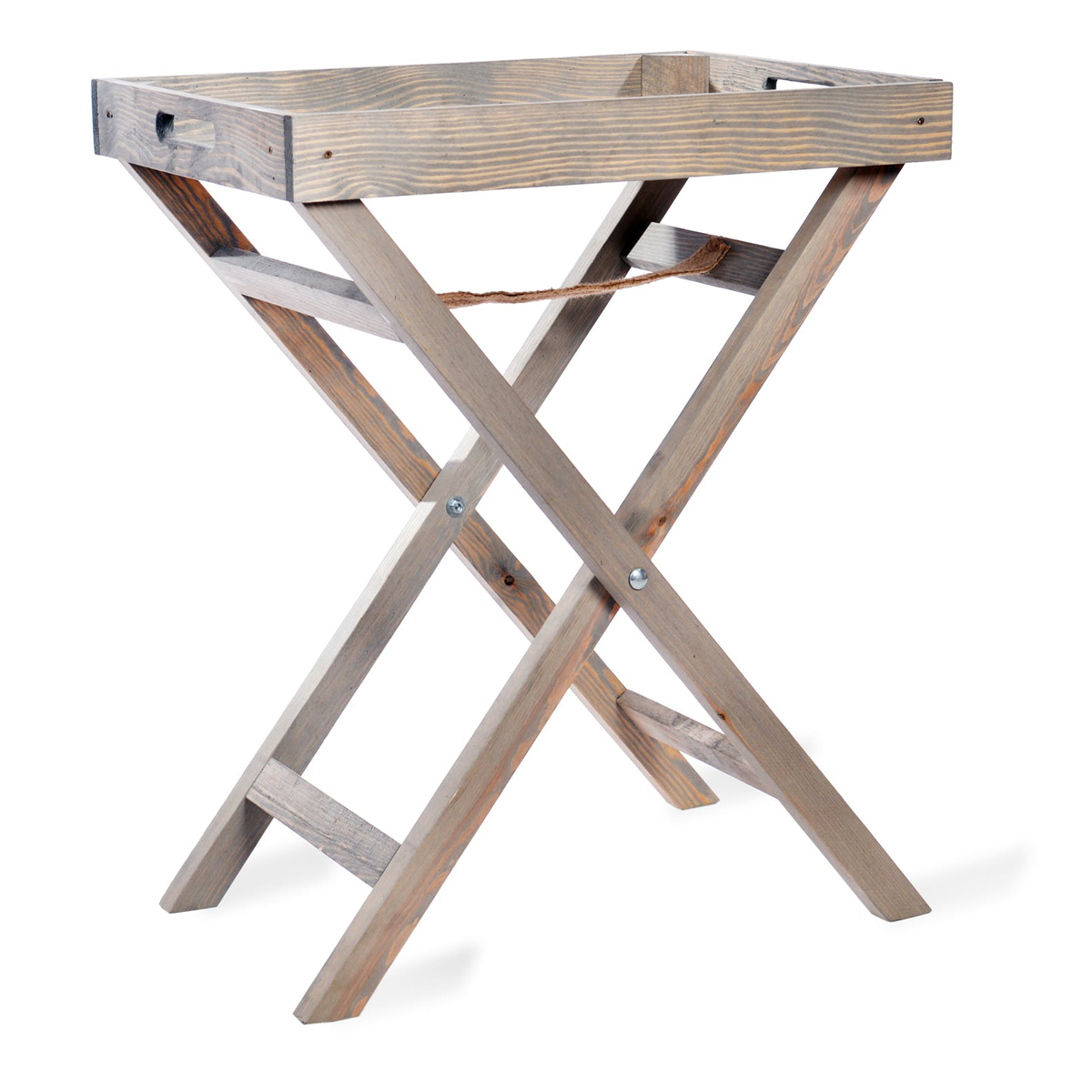 - Grey Wooden Folding Butlers Tray Table - Interior Flair