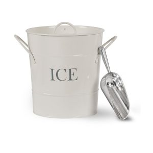 IBCH01_Retro Style White Metal Ice Bucket