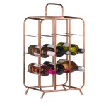 18867-a Industrial Style Copper 9 Bottle Rack